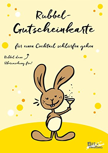ART + emotions Rubbel- Gutscheinkarte - für einen Cocktail schlürfen gehen- Überraschungskarte Gutschein Kratzkarte Wunschkarte