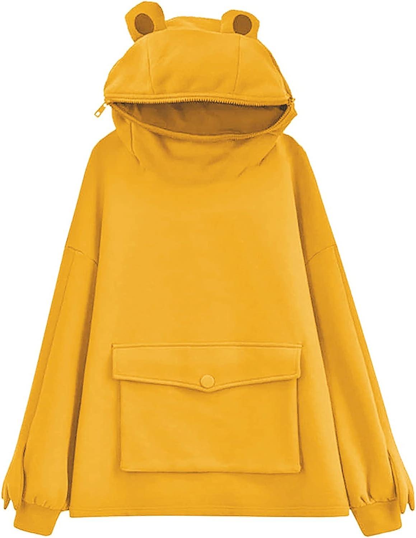 Hooded Sweatshirts for Teen Girls Aniwood Women Frog Printing Hoodies Long Sleeve Tops Casual Pullover Hooded Sweaters