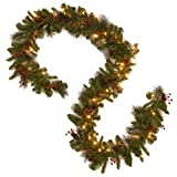 National Tree Company Pre-lit Artificial Christmas Garland | Flocked with Mixed Decorations and LED Lights | Great for Mantel, Table Centerpieces, or Other Holiday Décor |Crestwood Spruce - 9ft