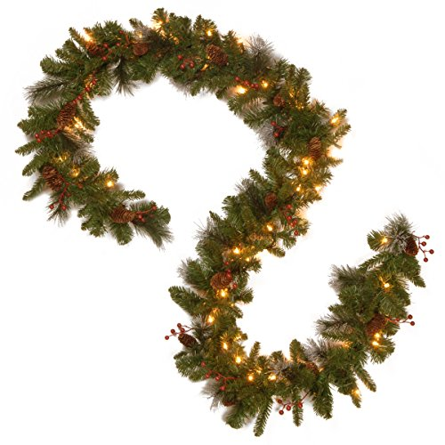 National Tree Company Pre-lit Artificial Christmas Garland | Flocked with Mixed Decorations and LED Lights |Crestwood Spruce - 9ft