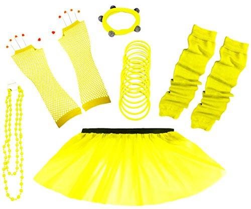 A-Express 80er Damen Neon Tütü Rock Ebene Beinstulpen Handschuhe Halskette Tüll Fluo Ballett Verkleidung Party Tutu Rock Kostüm Set (36-44, Gelb)