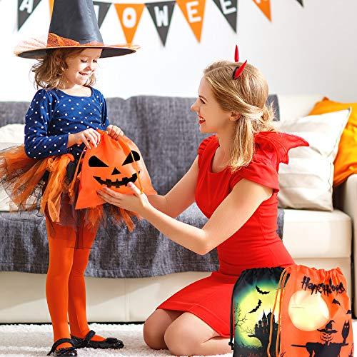 FEPITO Sacchetti di Caramelle di Halloween, Sacchetti di Goodie con Coulisse di Halloween, Sacchetti di dolcetti di Halloween, Sacchetti di Halloween per bomboniere di Halloween Forniture (12 PCS)