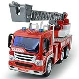 GizmoVine Feuerwehrauto, Reibungskraft Spielzeug Auto, Feuerwehr Spielzeug, mit Leiter, Licht & Sound, Baufahrzeug für Jungen Mädchen 4, 3, 2 Jahre