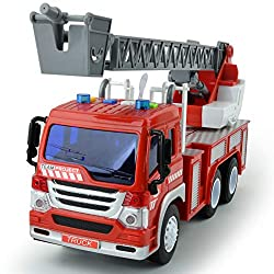 🚒【Real Experience】Fire engine truck toys includes flashing lights, 4 real life sounds and an extending rescue rotating ladder ! Children can imagine themselves at the rescue saving the day. 🚒【Expanding Capabilities】This fire truck toy develops kid's ...