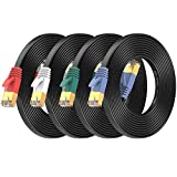 Cat7 Ethernet Cable 7 ft 4 Pack, High Speed Flat Internet Network LAN Cable, Faster Than Cat7/Cat6/Cat5 Network Durable Patch Cord with Gold Plated RJ45 Connector for Xbox, Router, Modem, Gaming