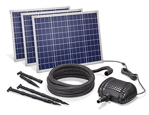 Solar Bachlaufset 150W Solarmodul 5000 l/h Förderleistung 3m Förderhöhe inkl. 5m Schlauch 32mm Bachlaufpumpe esotec pro Komplettset 101972