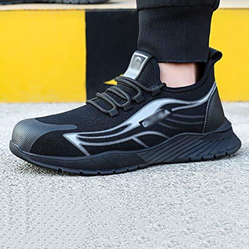 Calzado de protección Zapatos de seguridad cómodos, livianos y resistentes al desgaste, entrenadores de seguridad para hombre, entrenadores de punta de punta de acero ligeros reflexivos (negro, verde,