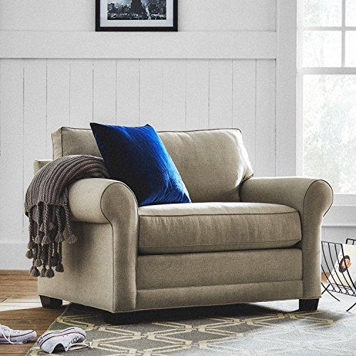 "Amazon Brand – Stone & Beam Kristin Chair-and-a-Half Upholstered Sleeper Sofa, 55.5""W, Stone"