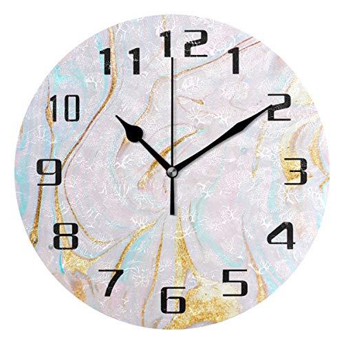DOSHINE Wanduhr, Pastell-Marmor-Muster, leise, Nicht tickende Uhr, Schlafzimmer, Wohnzimmer, Küche, Heimdekoration