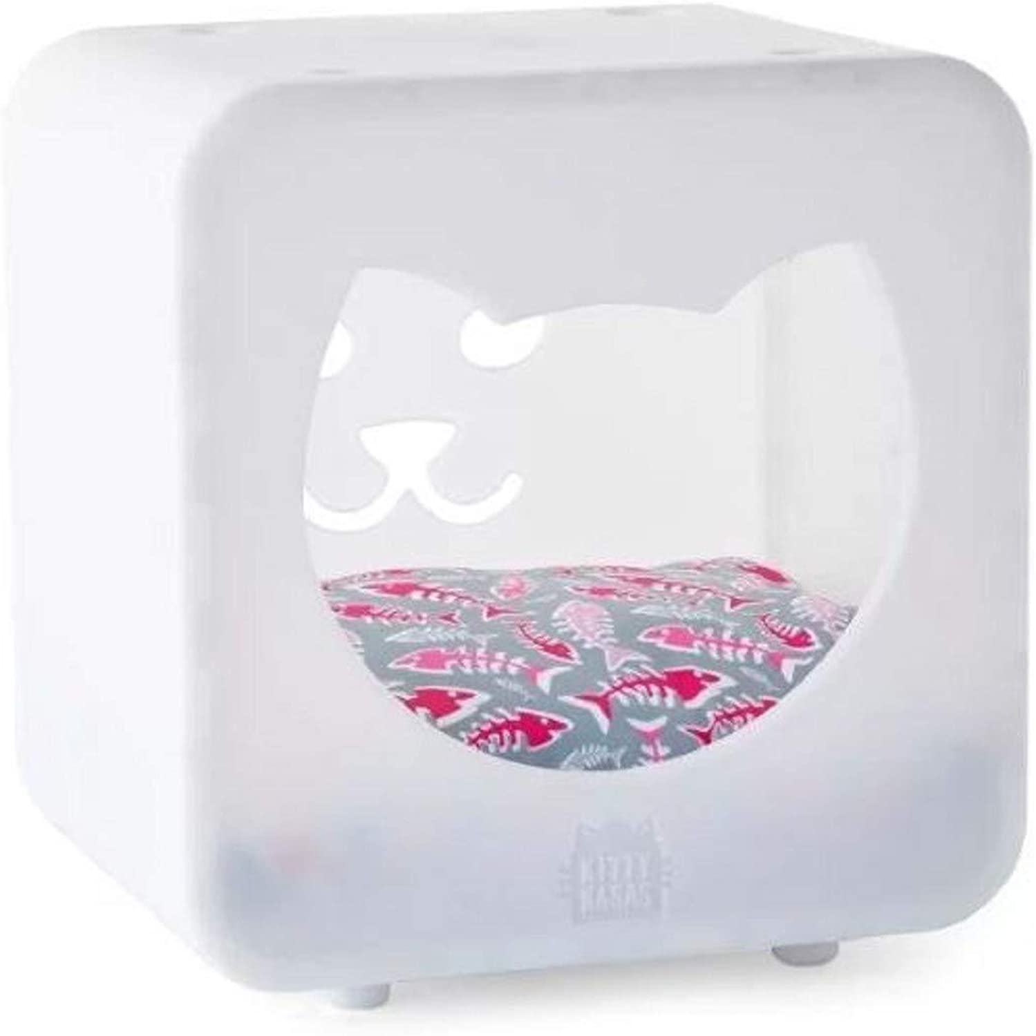 Hooded Pet Bed. Nicki Bedroom Cube Hooded Pet Bed Virtually Indestructible and Easy to Clean (White)