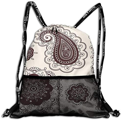 AZXGGV Drawstring Backpack Rucksack Shoulder Bags Gym Bag Sport Bag,Intricate Hand Drawn Tattoo Paisley Doodle Eastern Culture Inspired Design