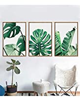 絵画 パネルキャンバスポスター抽象的な植物の緑の葉レストランのキッチンの装飾家族へのプレゼント3ピーススーツ環境保護30x50cmx3