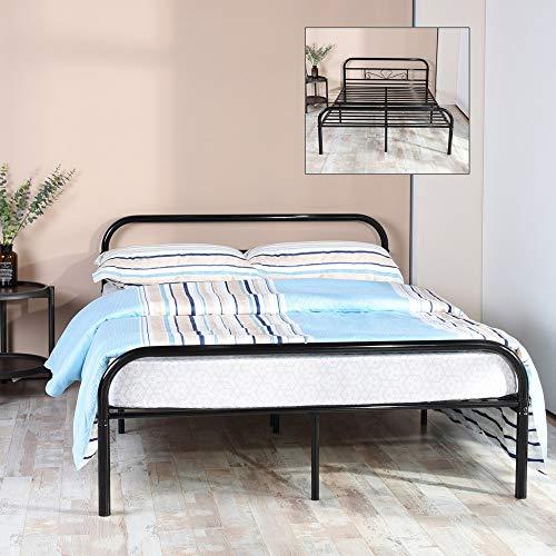 Marco de cama de metal de doble tamaño con cabecero y listones de metal estables reemplazo/pie de plataforma única base de colchón, tubo de metal y pintura negra