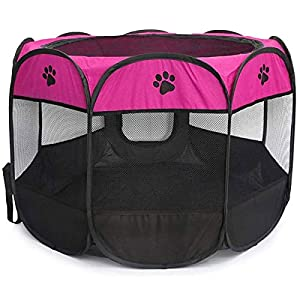 BEIKOTT Pet Playpen, Foldable Dog Playpens, Portable Exercise Kennel Tent for Puppies/Dogs/Cats/Rabbits, Dog Play Tent with Removable Mesh Shade Cover for Travel Indoor Outdoor Using(Small)