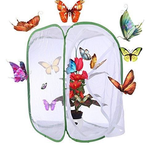 Rolanli Papillon Habitat Papillon et Insectes Cage Mesh - Blanc + Vert (40 * 40 * 60cm)