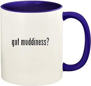 got muddiness? - 11oz Ceramic Colored Handle and Inside Coffee Mug Cup, Deep Purple