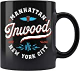 DKISEE Inwood Manhattan - Tazza da tè in ceramica con grafica vintage New York, 325 ml