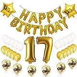 Oumezon - Juego de globos de decoración para 17.º cumpleaños, color dorado, para chico o chica, con el texto «Happy Birthday»