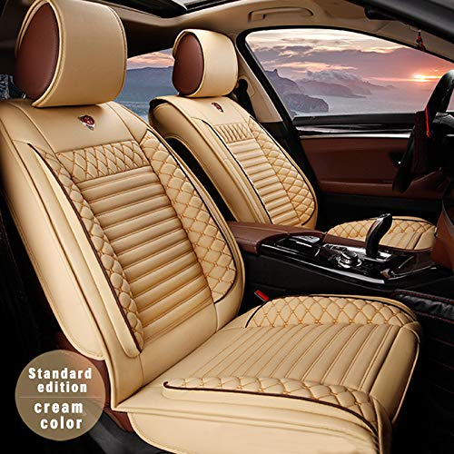 Muchkey 3D Surrounded Luxury Universal PU Leather Car Seat Cover Full Set 5-Seats car seat Cover Front+Rear Cushion,Airbag Compatible,Fit Most car,Truck,SUV