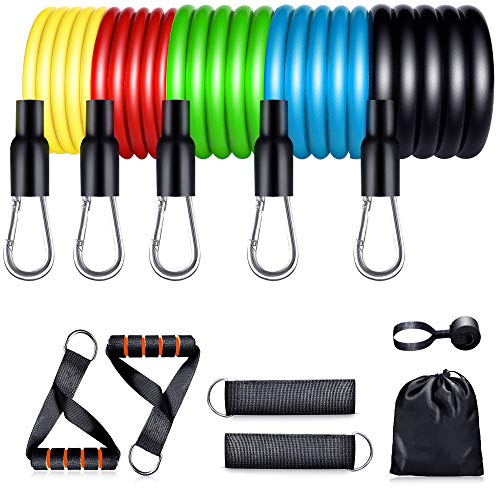 【2020 Newest】 Resistance Bands Set Home Fitness 5 Stackable Exercise Bands Door Anchor 2 Handles 2 Legs Ankle Straps Waterproof Carry Bag for Resistance Training Physi Cal Therapy 1