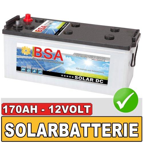 BSA 170Ah 12V Solarbatterie Wohnmobil Versorgungsbatterie Solar Batterie 140AH 150Ah