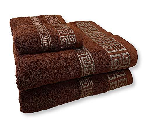 HOMEALOO Juego de 4 toallas premium 100 % algodón, juego de toallas (4 piezas, 2 toallas de baño y 2 toallas), color marrón y dorado