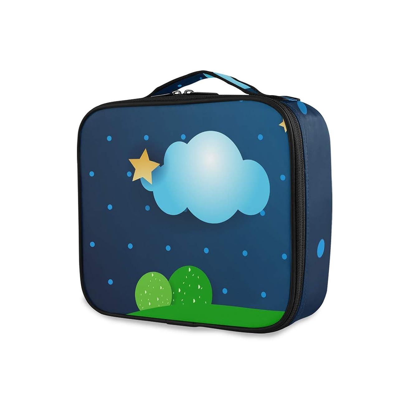 右出会い出会い漫画の青い空の星メイクアップバッグトイレタリーケースジッパーメイクアップ化粧品袋オーガナイザーポーチコンパートメントに無料女性女の子