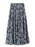 Mujer Lino Algodón Floral Maxifalda Falda Larga con Bolsillos Laterales Cintura Elástica Boheme Retro Vintage Longitud 90cm -Porcelana Blanca Azul B08