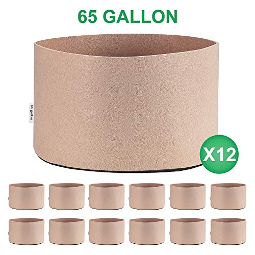 TopoGrow 12-Pack 65 Gallon Grow Bags Tan Fabric Round Aeration Pots Container for Nursery Garden and Planting Grow (65 Gallon, Tan(12-Pack))