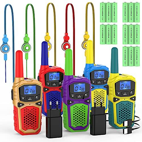 Walkie Talkie Niños Recargable Portátil Walkie-Talkie 8 Canales 3KM Largo Alcance con 2 Cargadores USB 15 Bateria Recargable Función de VOX LCD Juguetes de Camping Senderismo
