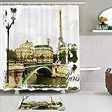 Juego de cortinas y tapetes de ducha de tela,Eiffel Calles parisinas Vintage Pintura Sena En mal estado París Escena f,cortinas de baño repelentes al agua con 12 ganchos, alfombras antideslizantes