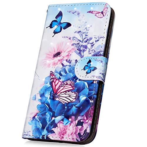 Surakey PU Leder Hülle für Nokia 5 Handyhülle Handytasche 3D Gemalt Muster Glitzer PU Tasche Schutzhülle Flip Case Brieftasche Etui Wallet Case Ständer Kartenfächer, Blau Schmetterling