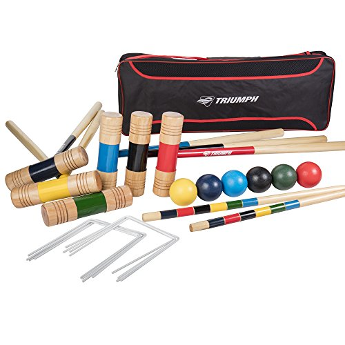 Triumph 6-Player All Pro Backyard Croquet Set with 6 Wood Mallets, Balls, and Carry Bag