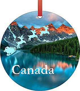 Santa Klaus and Sleigh Riding Over The Canadian Rockies, Canada Double Sided Flat Round Shaped Ornament Xmas Tree Christmas Décor - Christmas Room Décor and Ornament Yard Decorations