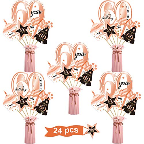 Rose Gold 60th Birthday Party Decoration Set Golden 60th Birthday Party Centerpiece Sticks Glitter Table Toppers for Women 60 Years Party Decorations Supplies,24 Pieces