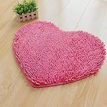 Chenille Heart-Shaped Anti Skid Mat Carpet Water Absorption Bathroom Rug Bath Mat Washable Soft mat (Color : Tender Pink, ...
