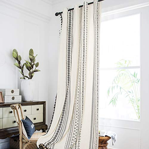 Bohemian Geometric Window Curtains with Tassels Semi Blackout Curtain Panels Boho Cotton Linen Grommet Window Drapes for Living Room Bedroom 87 × 59 Inches, Black and White