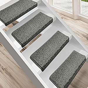 55x22x4.5cm Beige Panamami Luminous Carpet Stair Treads Skid-Resistant Rubber Backing Gripper Non-Slip Carpet Stair Treads Washable Stair Mat