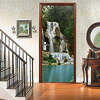sesemao3Dインテリアドアベッドルームステッカードアステッカー防水自己粘着紙リビングルームベッドルームオフィスバスルームファミリーウォーターフォール風景-90 * 200