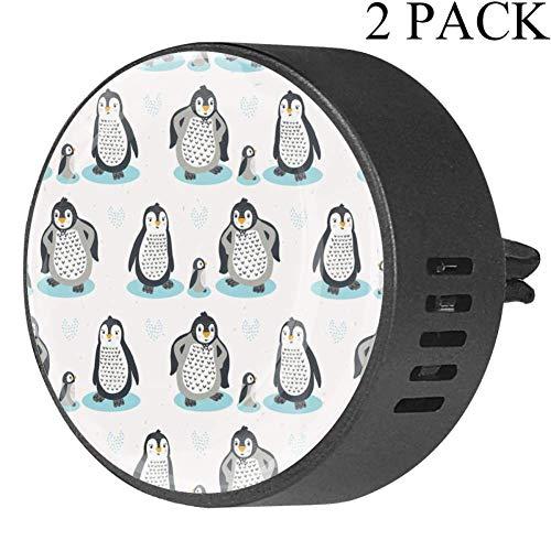 TIZORAX Luchtverfrisser-diffuser voor etherische olie voor de auto, pinguïnfamilie met comic-wekker voor op kantoor