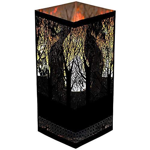 Apando Flammenleuchte Square Brazier FOREST in Schwarz LED Design Tischleuchte mit Korpus aus Edelstahl Flammeneffekt Leuchte