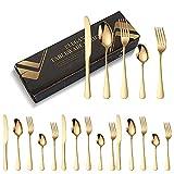Batchelo Juego de 5 cubiertos de viaje con caja de papel que incluye cuchara de cuchillo tenedor, portátil, reutilizable,...