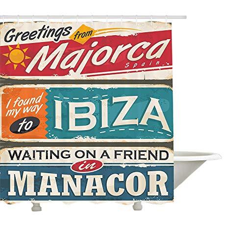Yeuss Ibiza Duschvorhang, Urlaubsmotiv Mallorca Ibiza & Manacor Exotic Places aus der Balearenregion Spanien, Stoffbadezimmerset mit Haken, Multicolor