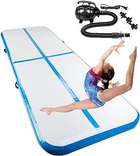 Matladin 10'x3.3' Gymnastics Exercise Mat Inflatable Tumbling Mats, Air Tumbling Track Electric Pump Home use, Gymnastics Training, Beach, Yoga, Water (Air Mat - 10'x3.3'x4, Blue)