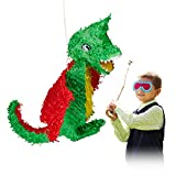 Relaxdays Pignatta a Forma di Drago, da Riempire, per Feste di Compleanno Bambini, in Cart...