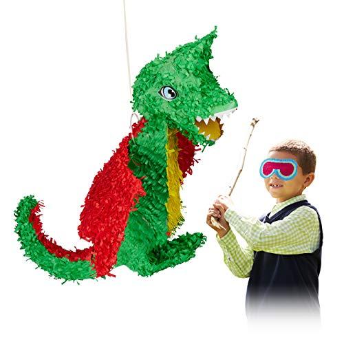 Relaxdays 10022572 Pinata Drache, zum Aufhängen, Kinder, Mädchen & Jungs, Geburtstag, zum Befüllen, Papier, große Piñata, bunt