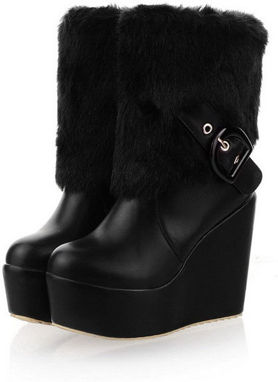 WeenFashion Womens Closed Round Toe High Heel Wedge Platform Soft Material PU Solid Boots, Black, 7.5 B(M) US