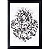 Santa Muerte by Mouse Lopez Black White Mexican Tattoo Portrait Framed Art Print