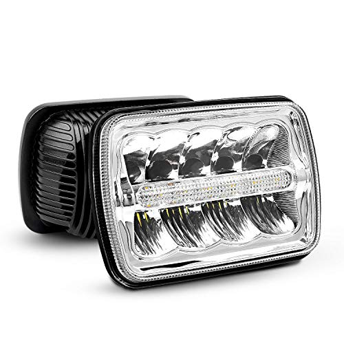 Nilight - 20014H LED Headlights 7x6 Rectangle LED Headlights 2PCS 45W Hi/Lo Beam w/DRL for Jeep Wrangler YJ Cherokee XJ Trucks 4X4 Offroad Headlamp Replacement, 2 Years Warranty