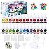 Ulikey 26 Colores Tie Dye DIY Kit, Pinturas Textiles de Tela, Permanentes Conjunto de Tinte Tie Tie de un Solo Paso Camisa Tela Tinte Duministros No Tóxicos para Arte de Bricolaje Niños, Adultos